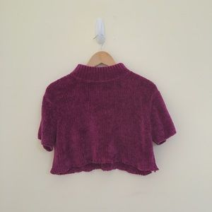 Fuchsia/magenta cropped turtleneck